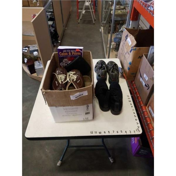BOX OF SHOES, INCLUDES GOLF SHOES, SIZE 7 AND 7 1/2 AND LADIES RUBBER SHOES SIZE US 9