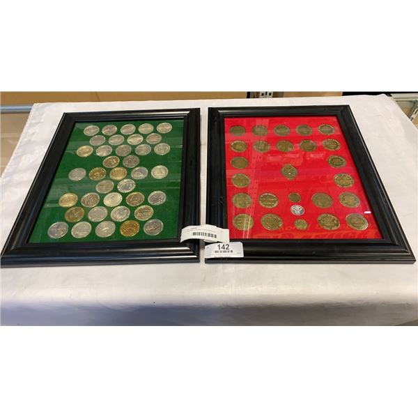 2 FRAMED CASINO COIN DISPLAYS