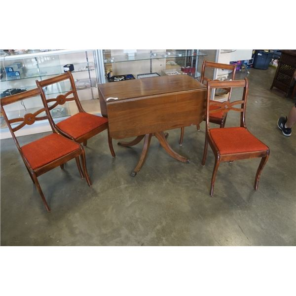 DUNCAN PHYFE DROPLEAF DINING TABLE WITH 4 CHAIRS