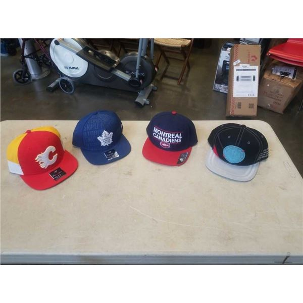 4 SPORTS HATS - CALGARY FLAMES, TORONTO MAPLE LEAFS, MONTREAL CANADIENS AND VANCOUVER GRIZZLIES