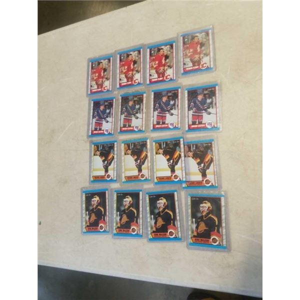 16 HARD CASED HOCKEY CARDS- THEO FLEURY, TREVOR LINDEN, BRIAN LEETCH AND KIRK MCLEAN