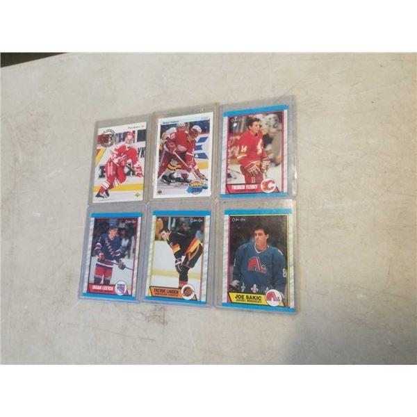 6 HARD CASED HOCKEY CARDS - JOE SAKIC, TREVOR LINDEN, BRIAN LEETCH, SERGEI FEDOROV, THEOREN FLEURY A