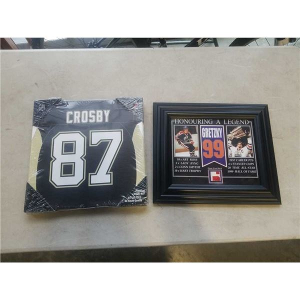 GRETZKY FRAMED GAME USED HOCKEY STICK FRAGMENT AND CANVAS CROSBY JERSEY PRINT