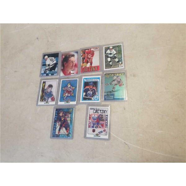 10 HARD CASED WAYNE GRETZKY HOCKEY CARDS