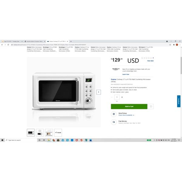 Goplus Costway 0.7-cu ft 700-Watt Countertop Microwave (White)