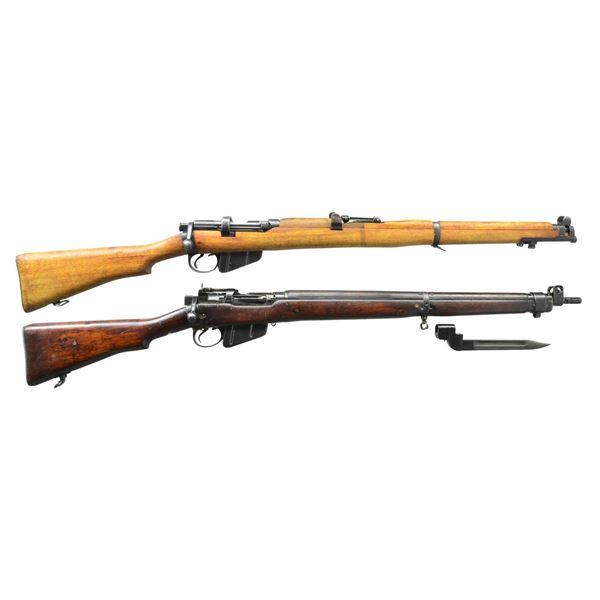 2 BRITISH WWII BOLT ACTION MILITARY RIFLES.