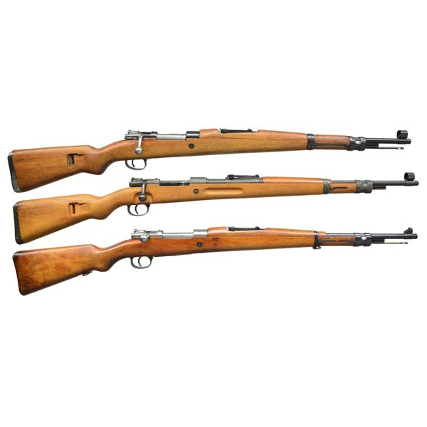 3 MILITARY BOLT ACTION RIFLES.