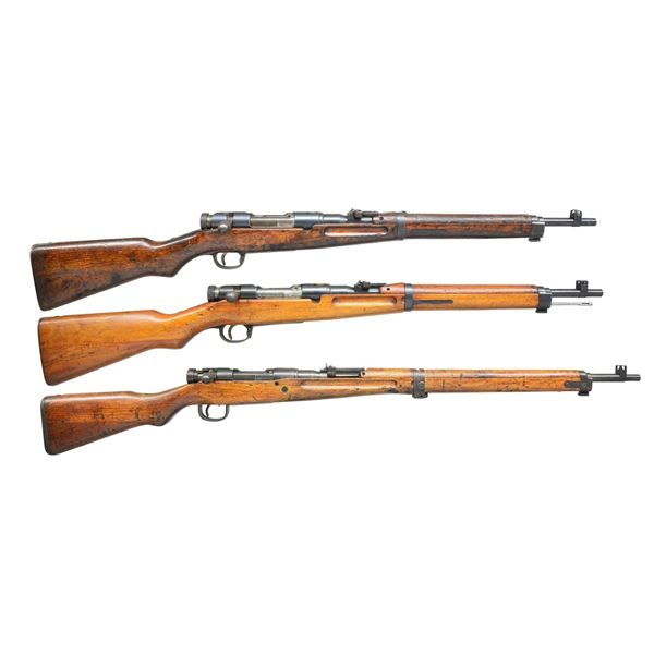 2 WWII BOLT ACTION JAPANESE TYPE 38 CARBINES & 1