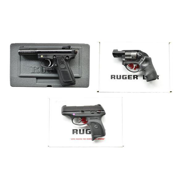 3 RUGER HANDGUNS; 22/45 TARGET, LCR & LCP.