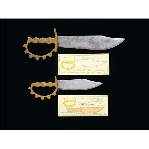 2 IDENTIFIED WW2 AUSTRALIAN MADE RANGE KNIVES.
