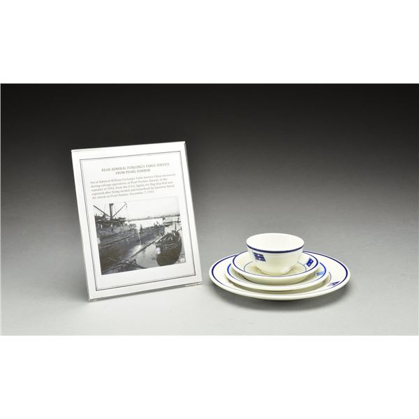 PEARL HARBOR SALVAGED 4 PIECE DINNER SERVICE FOR