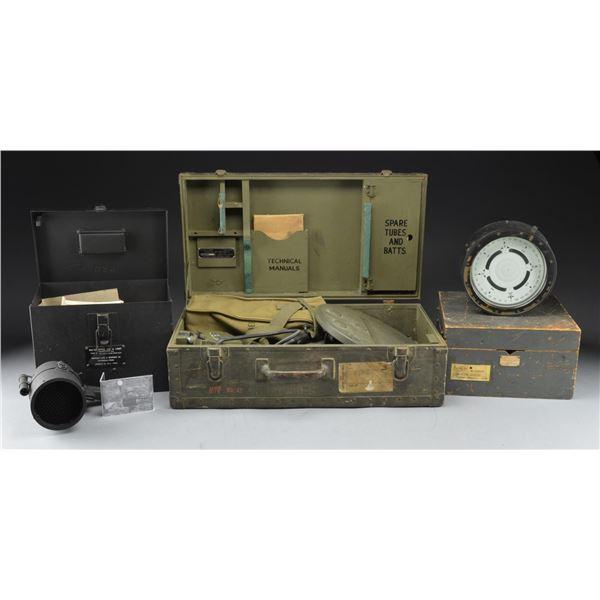 MINE DETECTOR, GAS MASK BOX, SEMAPHORE LIGHTS & A