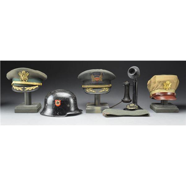 WWII GERMAN & US HEADGEAR, TELEPHONE & MORE.