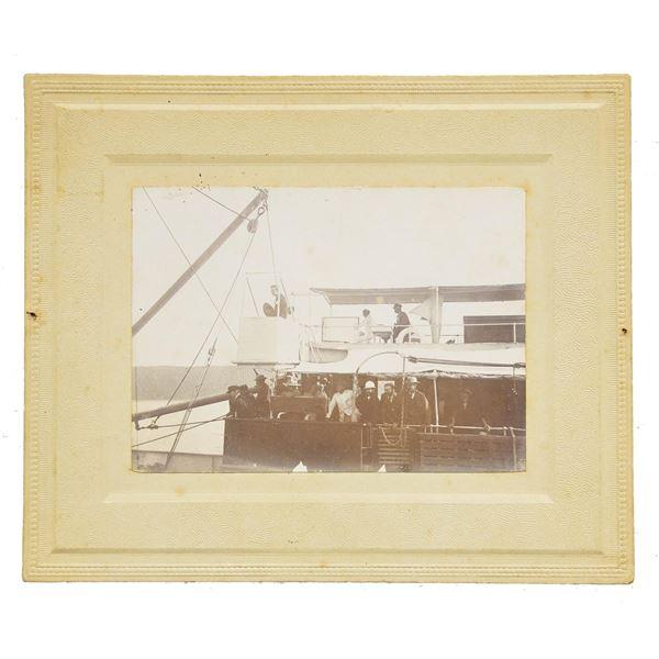 BOAR WAR PHOTO OF WINSTON CHURCHILL ON SHIP.