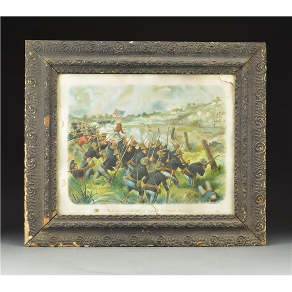 """FRAMED PRINT TITLED """"THE STORMING OF  HILL""""."""