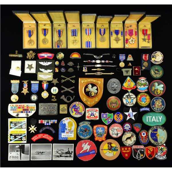 CASED MILITARY MEDALS, OVERSEAS CAPS, PATCHES &