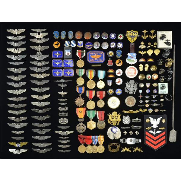 LARGE LOT OF WWII & LATER AIR CORPS WINGS, MEDALS