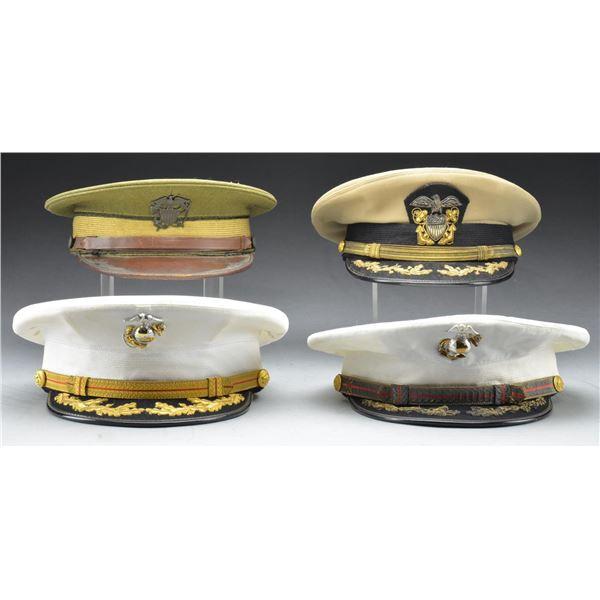 4 UNITED STATES MILITARY VISOR CAPS.