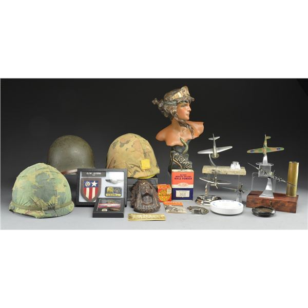 INTERESTING ASSORTED GROUP OF US MILITARY HELMETS,
