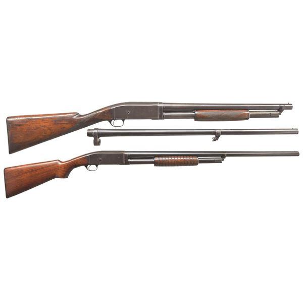 2 REMINGTON MODEL 10 PUMP SHOTGUNS.