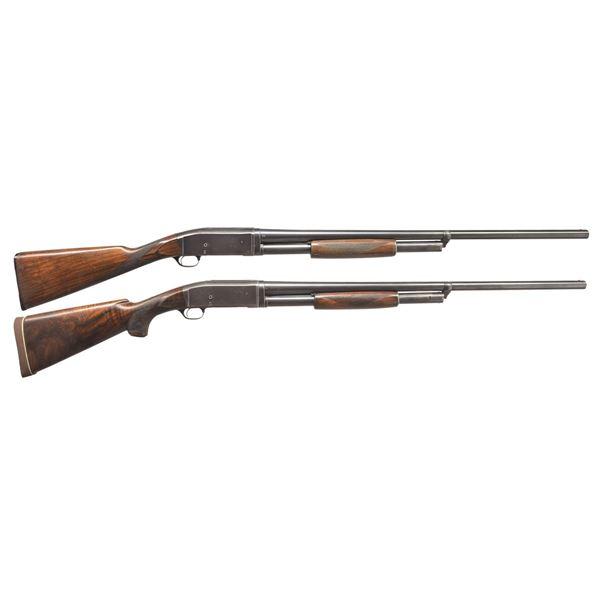 2 REMINGTON MODEL 10 TRAP GRADE PUMP SHOTGUNS.