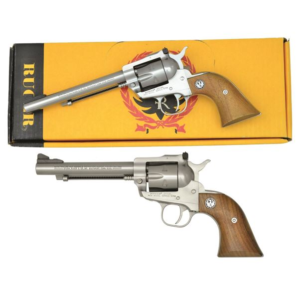 2 RUGER STAINLESS REVOLVERS.