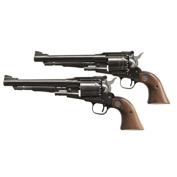 2 RUGER BLUED OLD ARMY REVOLVERS.