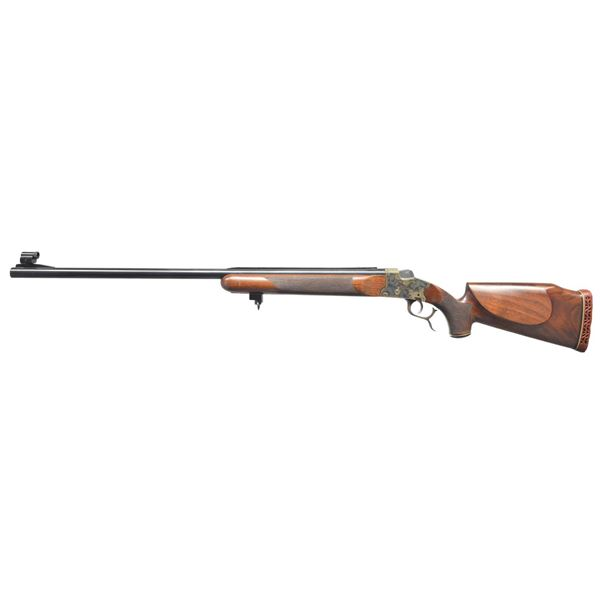 22 TARGET RIFLE WITH LUNA SINGLE SHOT ACTION.