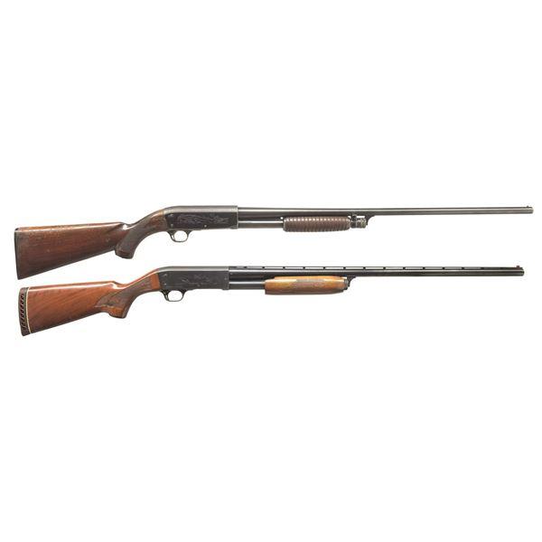 2 ITHACA MODEL 37 PUMP SHOTGUNS.