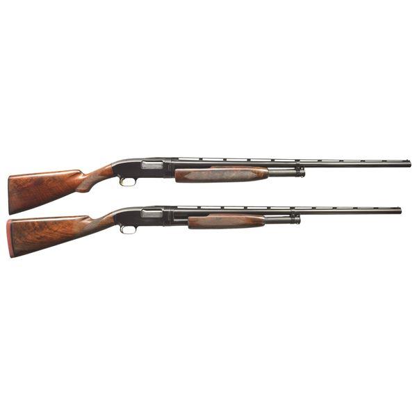 2 WINCHESTER MODEL 12 TRAP STYLE PUMP SHOTGUNS.