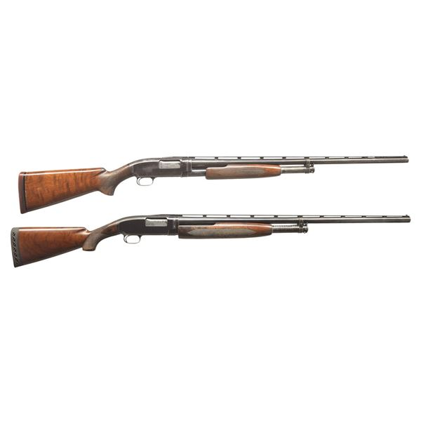 2 WINCHESTER MODEL 12 TRAP PUMP SHOTGUNS.