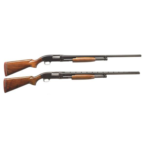 2 WINCHESTER MODEL 12 HEAVY DUCK PUMP SHOTGUNS.