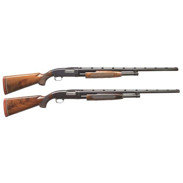 2 WINCHESTER MODEL 12 Y SERIES PUMP SHOTGUNS.