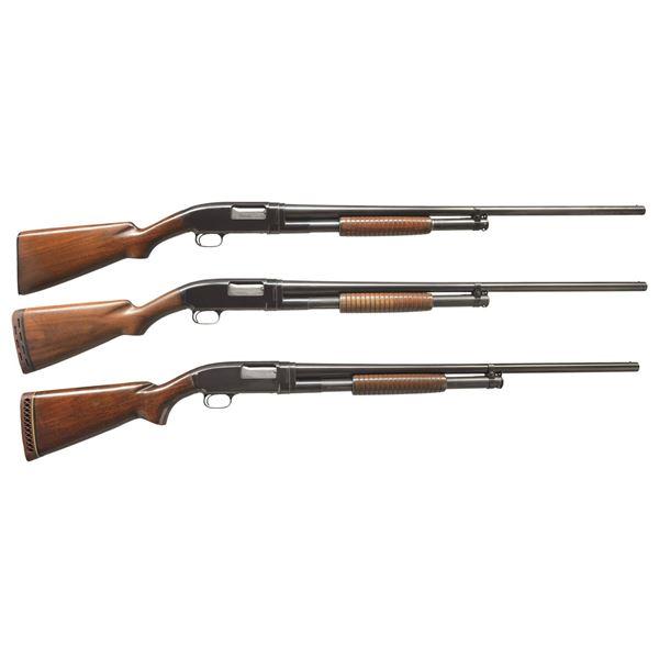 3 WINCHESTER MODEL 12 FIELD PUMP SHOTGUNS.