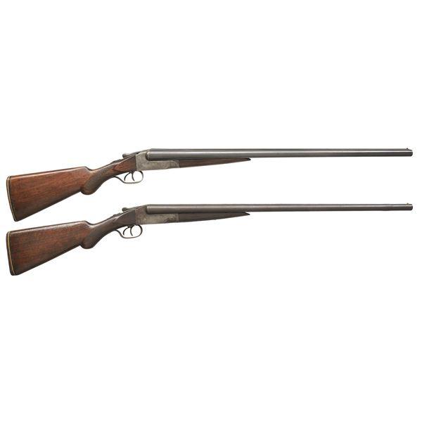 2 ITHACA FLUES MODEL FIELD GRADE SXS SHOTGUNS.