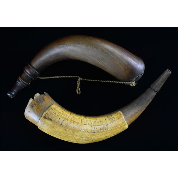 2 FRENCH & INDIAN WAR CARVED HORNS.