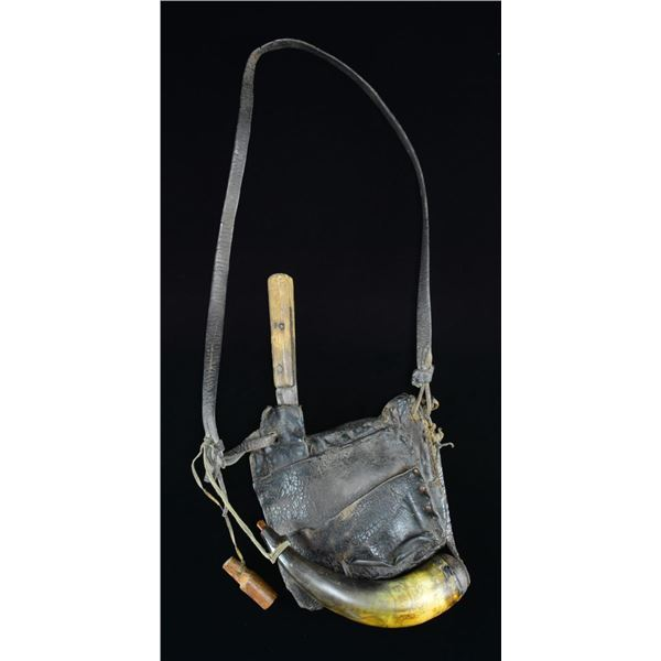 19TH CENTURY HUNTING BAG W/ ATTACHED HORN & PATCH