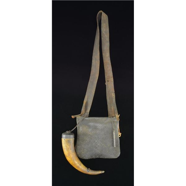 19TH CENTURY HUNTING BAG W/ ATTACHED HORN.