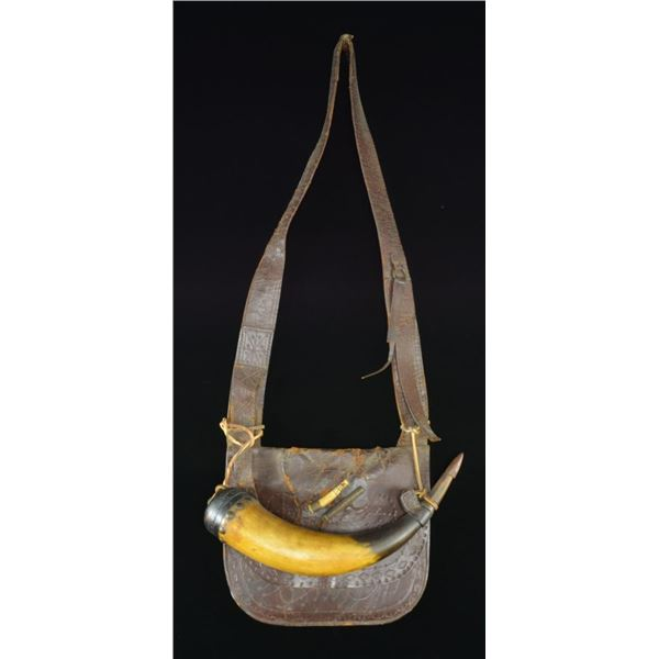 ATTRACTIVE BROWN LEATHER TOOLED 19TH CENTURY