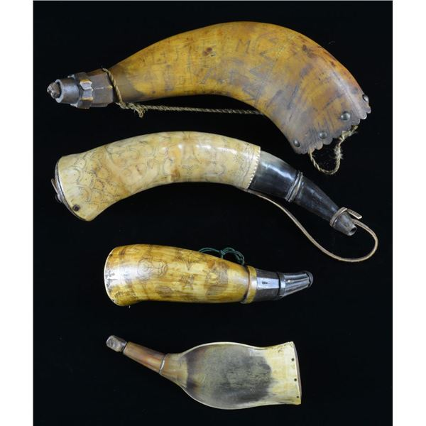 GROUP OF FOUR 18TH/19TH CENTURY POWDER HORNS.