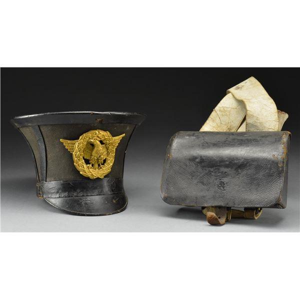 CIRCA 1830 FRENCH SHAKO & CARTRIDGE BOX.
