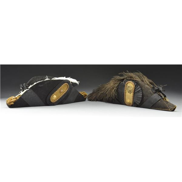 2 M1872 OFFICERS FORE & AFT HATS.