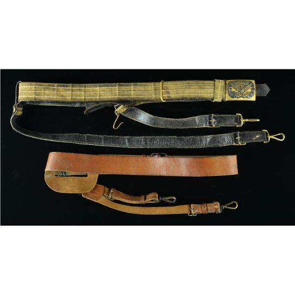2 US INDIAN WAR TO WWI OFFICERS BELTS.