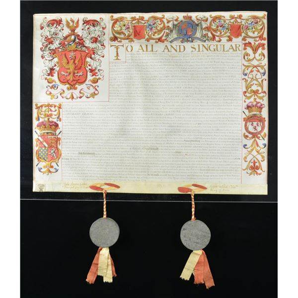 GEORGIAN GRANT OF ARMS TO RICHARD GRAVES IN ITS