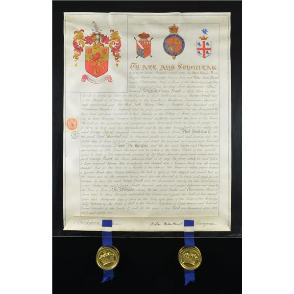 VICTORIAN GRANT OF ARMS TO GEORGE POWELL ESQ. IN