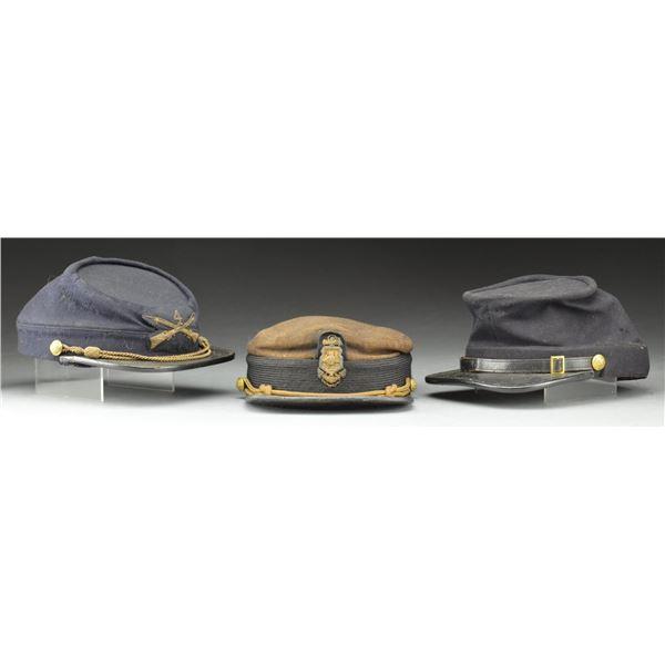 3 POST CIVIL WAR US MILITARY KEPIS & HATS.