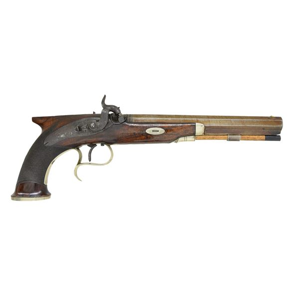BRITISH SAW HANDLE PERCUSSION PISTOL RETAILED BY