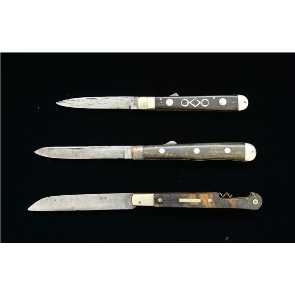 3 ANTEBELLUM FOLDING KNIVES.