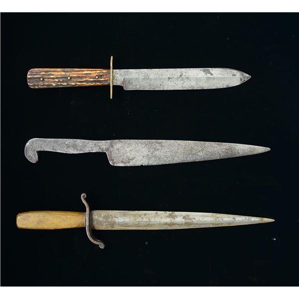 THREE 19TH CENTURY KNIVES.