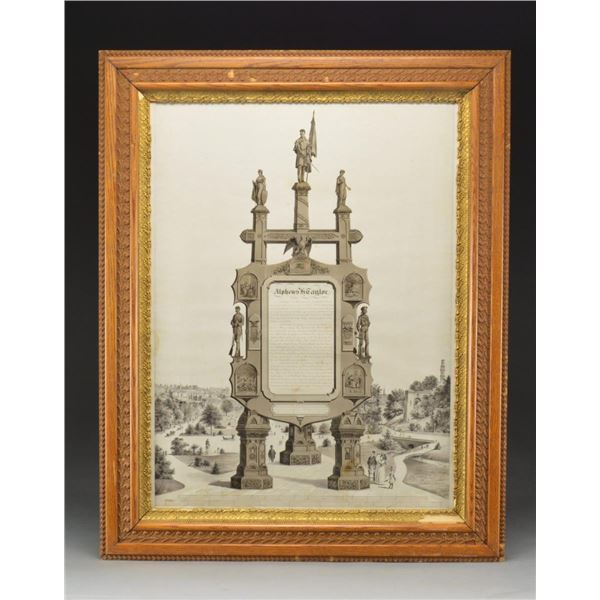 LARGE SOLDIERS MEMORIAL FRAME TO ALPHEUS H.